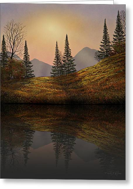 Gouache Photographs Greeting Cards - Alpine Sunset Reflections Greeting Card by Frank Wilson