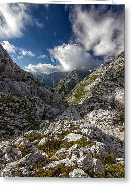 Mountain Valley Greeting Cards - Alpine valley Greeting Card by Ian Hufton