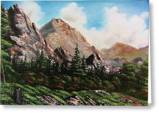 Bob Ross Paintings Greeting Cards - Alpine Vista Greeting Card by Gavin Kutil