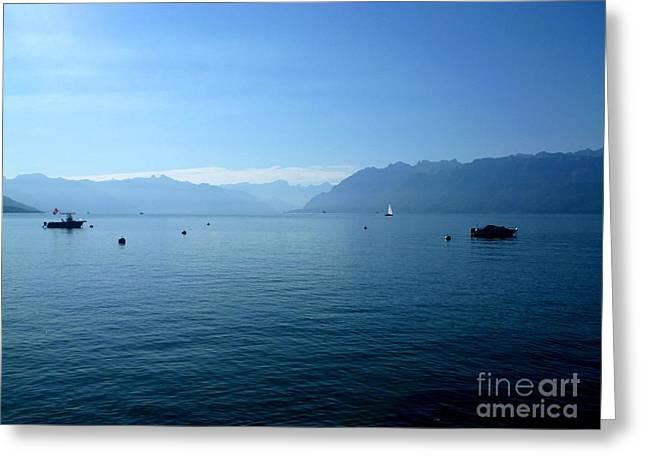 Original Photographs Greeting Cards - Alps and Leman Lake Greeting Card by Cristina Stefan