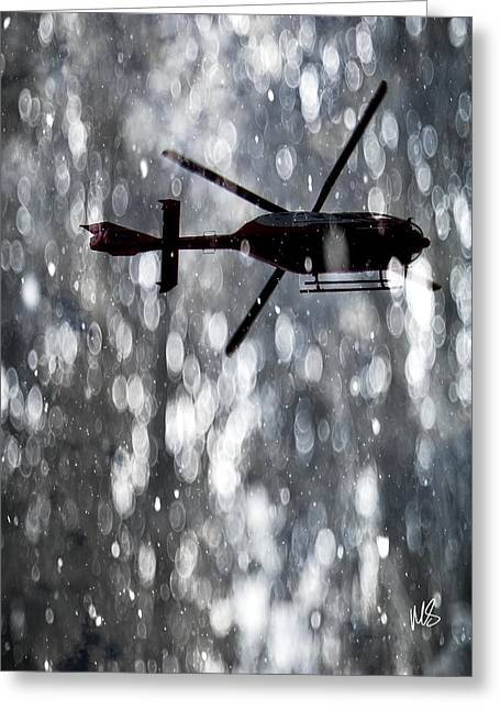 E Black Greeting Cards - ALS Medical Flight Greeting Card by Melissa Smith