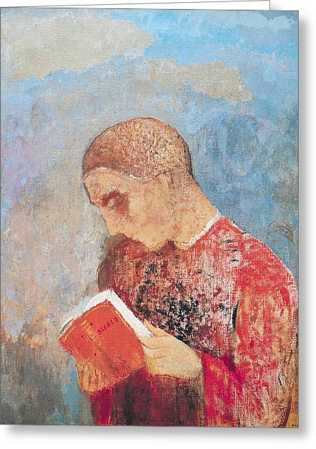 Piety Greeting Cards - Alsace Or, Monk Reading, C.1914 Oil On Canvas Greeting Card by Odilon Redon
