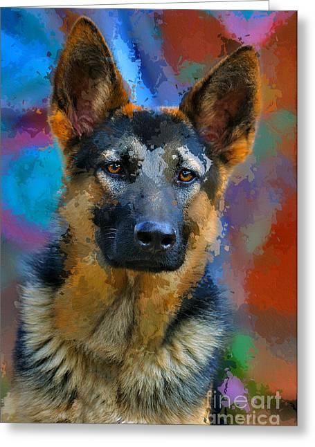 Working Dog Digital Greeting Cards - Alsatian Puppy Greeting Card by Morris Keyonzo
