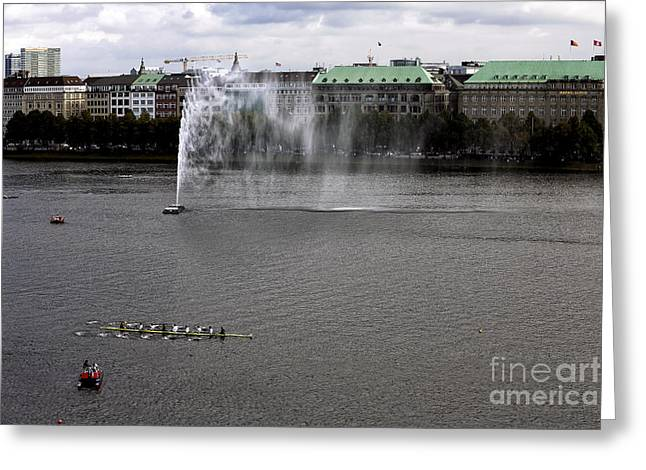 Boats On Water Greeting Cards - Alster Lake Day in Hamburg Greeting Card by John Rizzuto