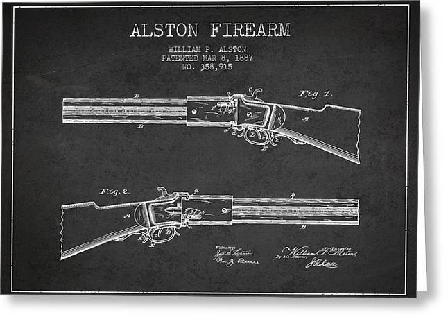 Rifles Greeting Cards - Alston Firearm Patent Drawing from 1887- Dark Greeting Card by Aged Pixel