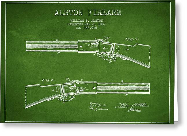 Rifles Greeting Cards - Alston Firearm Patent Drawing from 1887- Green Greeting Card by Aged Pixel