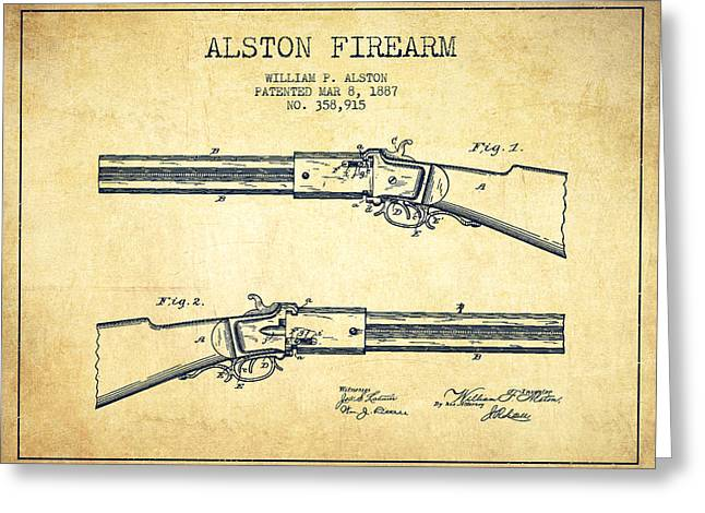 Rifles Greeting Cards - Alston Firearm Patent Drawing from 1887- Vintage Greeting Card by Aged Pixel