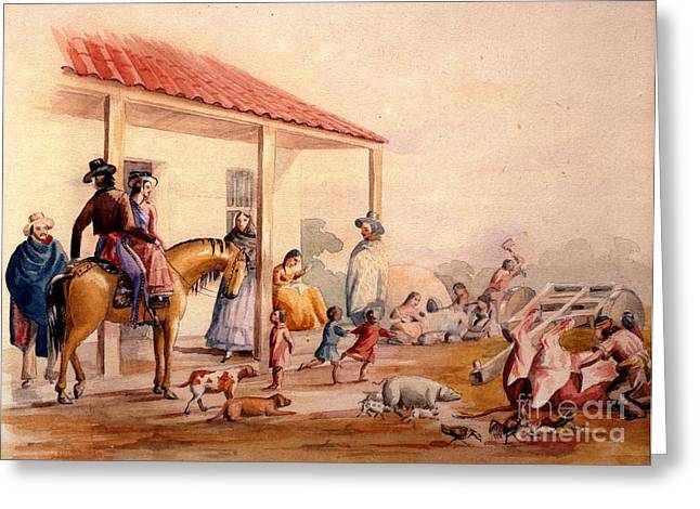 Mexican Drawings Greeting Cards - Alta California Rancho Greeting Card by Pg Reproductions
