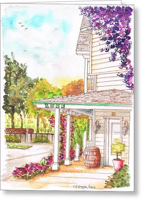 California Vineyard Paintings Greeting Cards - Alta Maria Vineyard in Los Olivos - California Greeting Card by Carlos G Groppa