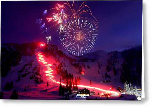 Torchlight Greeting Cards - Alta Ski Area 75th Birthday Celebration Greeting Card by Brett Pelletier
