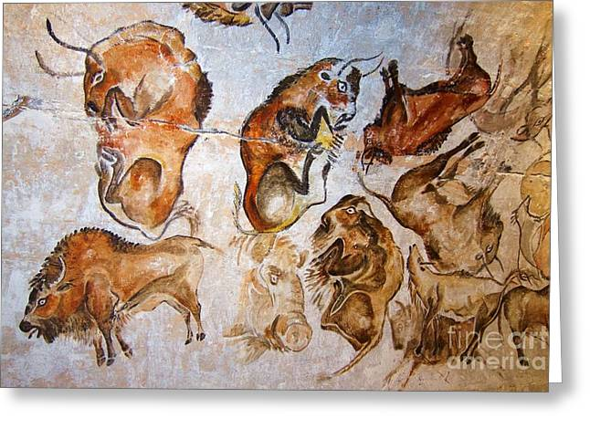 Altamira Greeting Cards - Altamira Bisons Greeting Card by Pg Reproductions