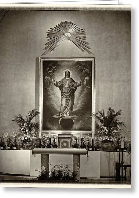 Altar Picture Greeting Cards - Altar at Mission Concepcion Greeting Card by Alan Tonnesen