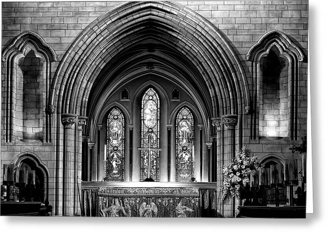 Stained Glass Ireland Greeting Cards - Altar at St Patricks Cathedral - Close Up Greeting Card by Photography  By Sai