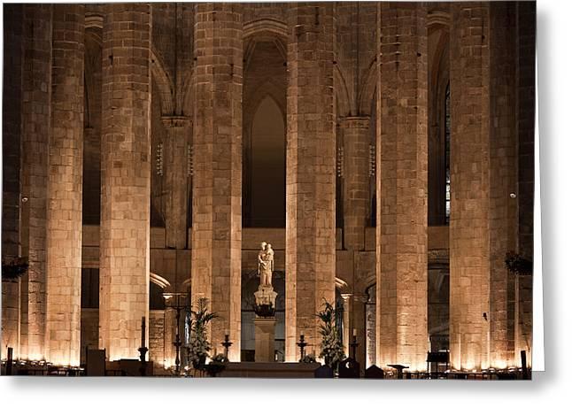 Medieval Temple Greeting Cards - Altar in the Basilica of Santa Maria del Mar in Barcelona Greeting Card by Artur Bogacki