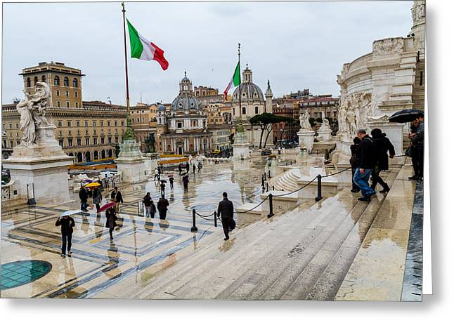 Reunification Of Italy Greeting Cards - Altare della Patria Greeting Card by Tim  Fitzwater
