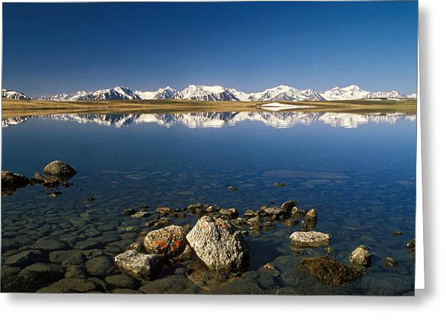 Snow-covered Landscape Photographs Greeting Cards - Altay Lakes  Kaldzhin Kol  Greeting Card by Anonymous