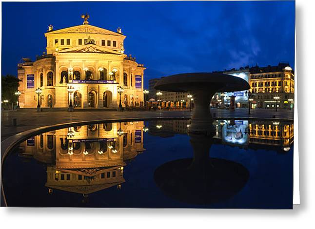 Arts Culture And Entertainment Greeting Cards - Alte Oper Reflecting In Lucae Fountain Greeting Card by Panoramic Images