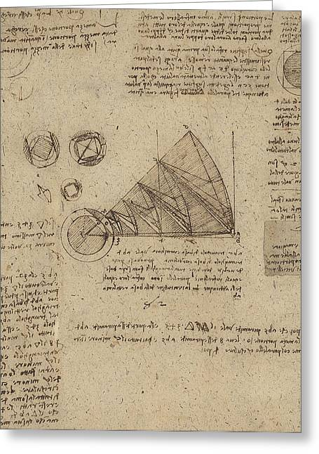 Da Vinci Code Greeting Cards - Alteration of annulus without changing its quantity below right study of bird flight from Atlantic Greeting Card by Leonardo Da Vinci