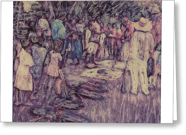 Impressionistic Market Greeting Cards - Alterd Polaroid - Small Village Market - Sepki River - Papua New Guinea Greeting Card by Wally Hampton