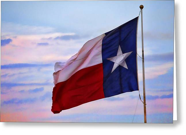 Flags Flying Greeting Cards - Altered Sky with Texas Flag Greeting Card by Linda Phelps