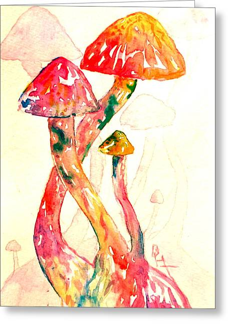 Fungi Paintings Greeting Cards - Altered Visions III Greeting Card by Beverley Harper Tinsley