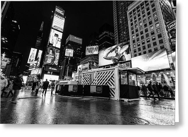 Nyc Winter Greeting Cards - Alternate view of Times Square  Greeting Card by John Farnan