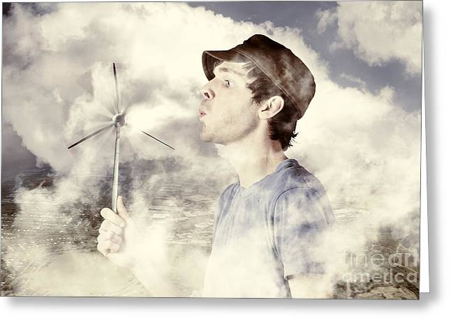 Ecologic Greeting Cards - Alternative energy man with wind power solution Greeting Card by Ryan Jorgensen