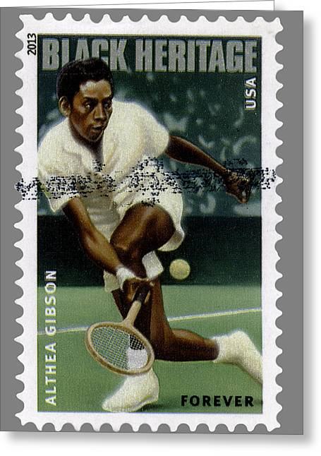 Wimbledon Greeting Cards - Althea Gibson Postage Stamp Greeting Card by Phil Cardamone