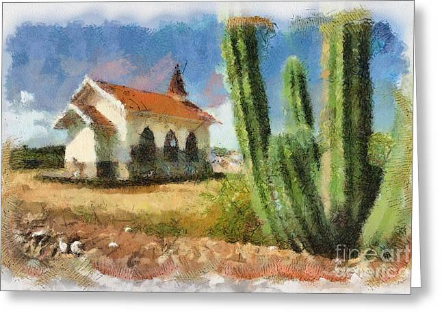 Alto Greeting Cards - Alto Vista Chapel Aruba Greeting Card by Amy Cicconi