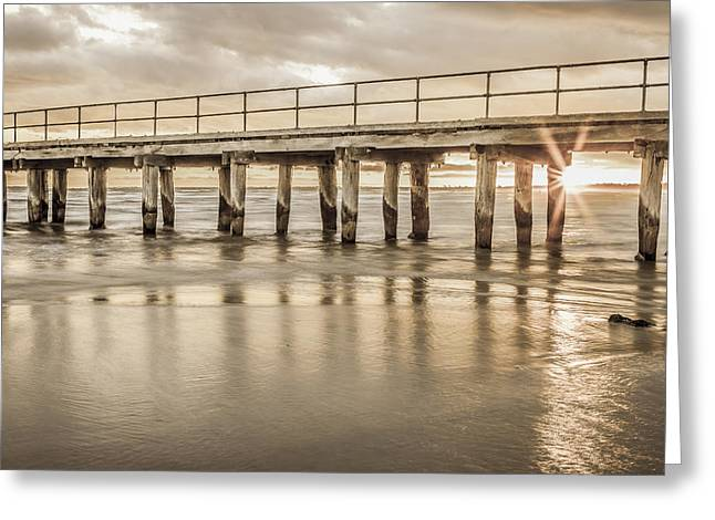 Altona Pier In Sepia Greeting Card by Shari Mattox