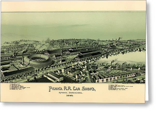 Urban Images Drawings Greeting Cards - Altoona Pennsylvania 1895 Greeting Card by Mountain Dreams
