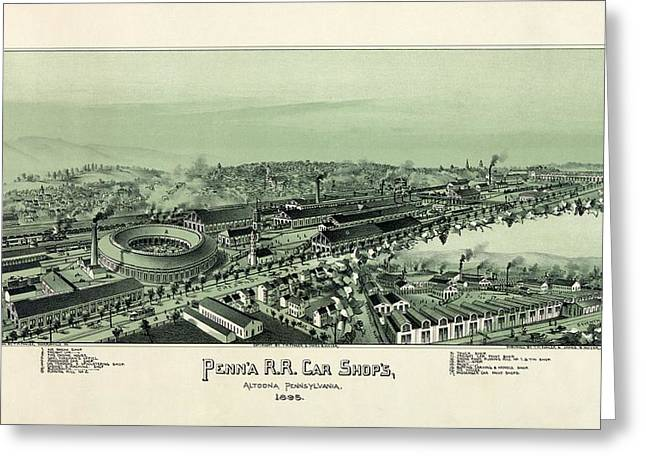 High Society Drawings Greeting Cards - Altoona Pennsylvania in 1895 Greeting Card by Celestial Images