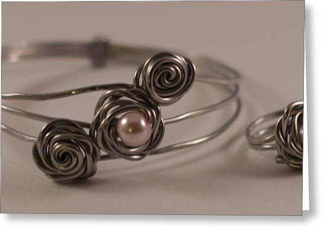 Handcrafted Jewelry Greeting Cards - Aluminum and Pearl Rosebud Bracelet and Ring Greeting Card by Tracy Partridge-Johnson