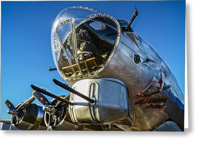 Military Airplanes Greeting Cards - Aluminum Overcast Nose Guns Greeting Card by F Leblanc