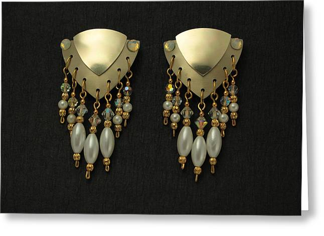 Gold Earrings Greeting Cards - Aluminum Pearl Drop Earrings Greeting Card by Laura Wilson