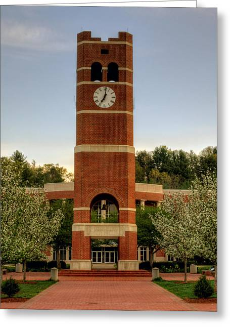 Wcu Greeting Cards - Alumni Clock Tower at WCU Greeting Card by Greg Mimbs