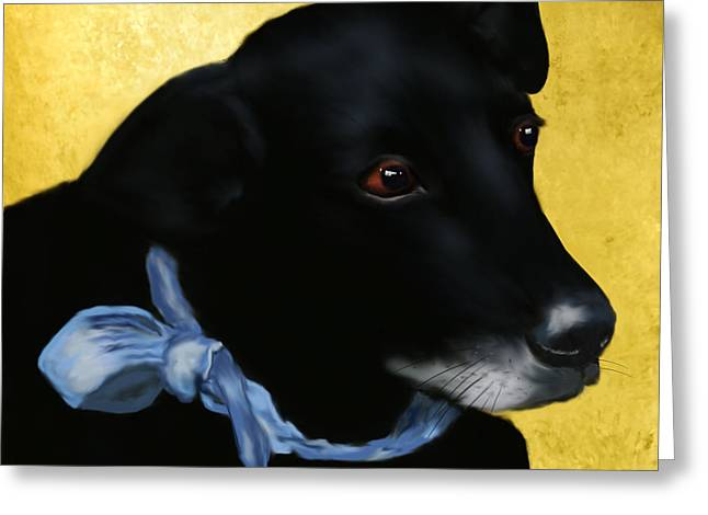 Recently Sold -  - Puppy Digital Art Greeting Cards - Alvin the Debonair Greeting Card by Sannel Larson