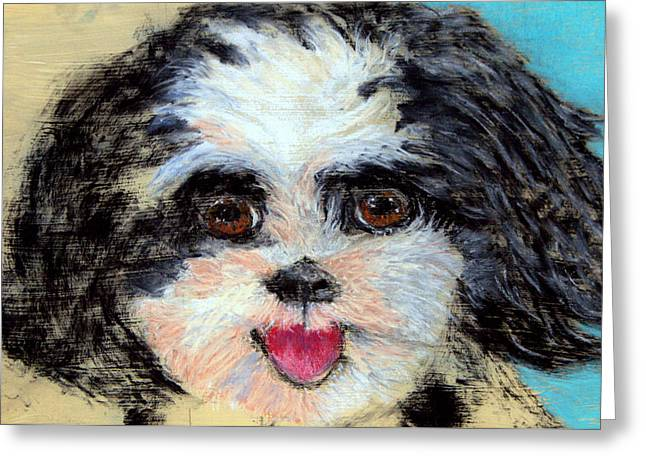 Puppies Pastels Greeting Cards - Always a Happy Face WIP Greeting Card by Antonia Citrino