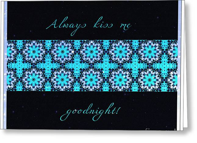 Stars Tapestries - Textiles Greeting Cards - Always Kiss Me Goodnight Stars Greeting Card by Barbara Griffin