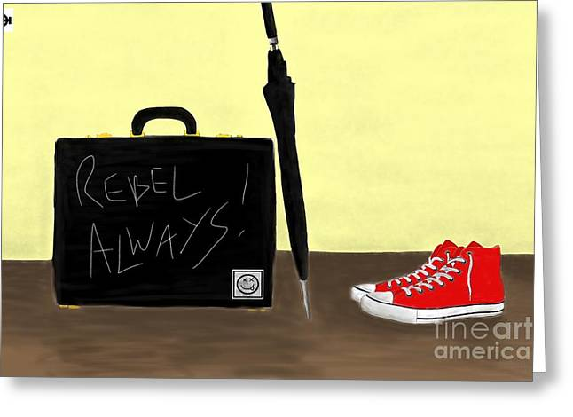 Conversing Digital Art Greeting Cards - Always...Rebel.... Greeting Card by Andy Heavens