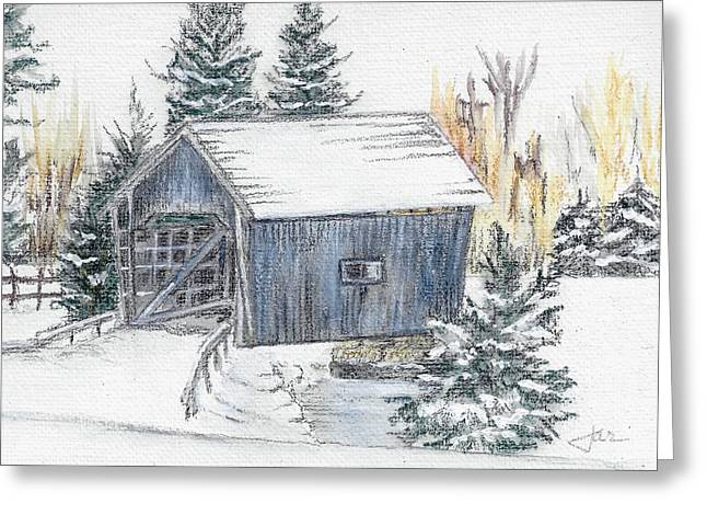 Covered Bridge Pastels Greeting Cards - A.M. Foster Bridge 1 Cabot VT Greeting Card by Judith Rice