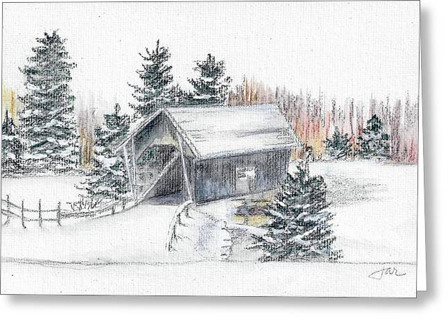 Covered Bridge Pastels Greeting Cards - A.M. Foster Bridge 2 Cabot VT Greeting Card by Judith Rice