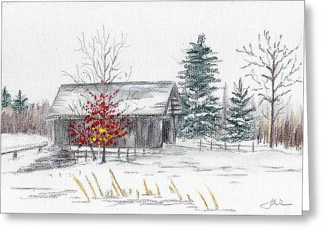 Covered Bridge Pastels Greeting Cards - A.M. Foster Bridge 3 Cabot VT Greeting Card by Judith Rice