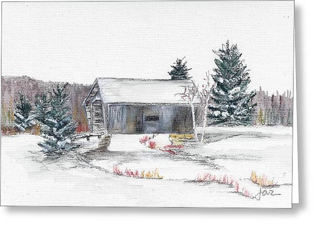 Covered Bridge Pastels Greeting Cards - A.M. Foster Bridge 4 Cabot VT Greeting Card by Judith Rice