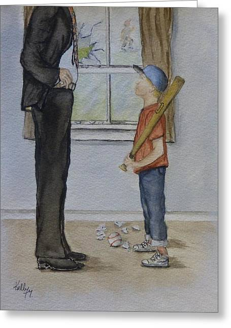 Baseball Cap Greeting Cards - Am I in trouble Dad... Broken Window Greeting Card by Kelly Mills