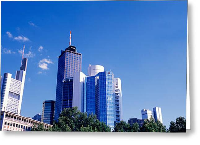 City Buildings Greeting Cards - Am Main Bank, Frankfurt, Germany Greeting Card by Panoramic Images