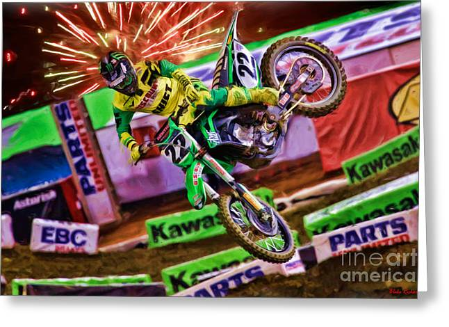 Supercross Greeting Cards - AMA 450SX SuperCross Chad Reed Greeting Card by Blake Richards