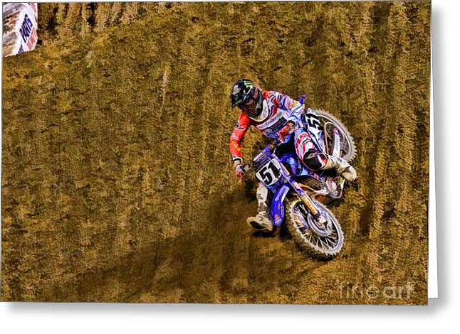 Supercross Greeting Cards - AMA 450SX SuperCross Justin Barcia Greeting Card by Blake Richards
