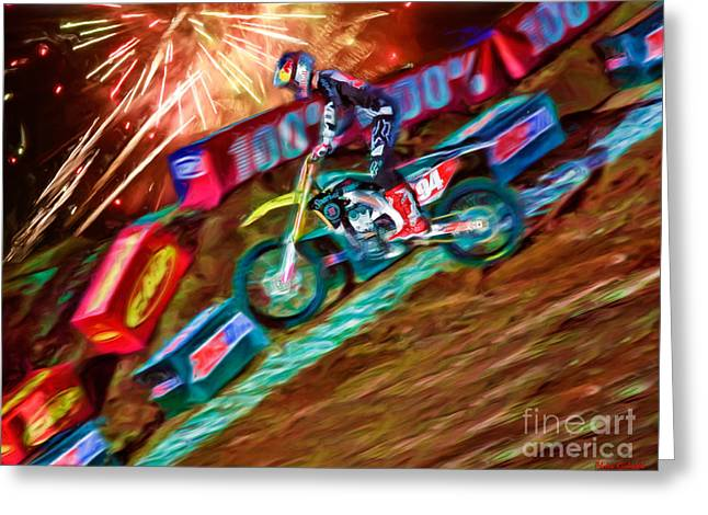 Supercross Greeting Cards - AMA 450SX SuperCross Ken Roczen Wheelie Greeting Card by Blake Richards