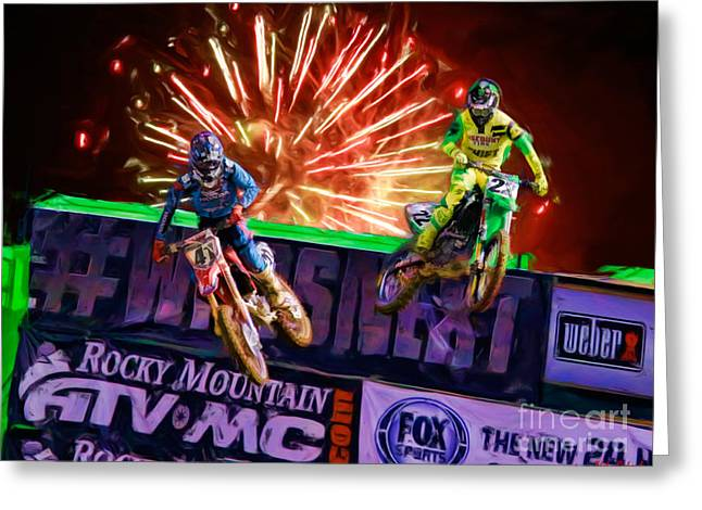 Supercross Greeting Cards - AMA 450SX SuperCross Trey Canard Leads Chad Reed Greeting Card by Blake Richards